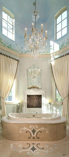 Elegant Owner's Suite bathroom. I'm pinning this to my dream house board... Because, it is a dream, I probably will never own this! But I can dream!! Hahaha!! - Megan
