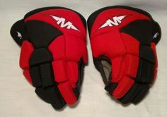 "Ice Roller Street Hockey Gloves 10"" Mission Youth Red Black Gently Used #Mission"