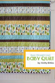 Awesome baby quilt tutorial- easy as sewing a straight line! From Andrea of Knitty Bitties.