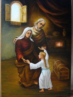 San Joaquin y Santa Ana. Catholic Art, Catholic Saints, Religious Art, Blessed Mother Mary, Blessed Virgin Mary, Saint Joachim, Happy Feast Day, St Rose Of Lima, Rennaissance Art