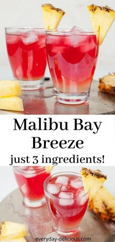 Malibu bay breeze is a delicious and easy drink, made with only 3 ingredients: Malibu, pineapple juice and cranberry juice. Malibu bay breeze is sweet, fruity and very refreshing. # Food and Drink ideas cranberry juice Fruity Alcohol Drinks, Easy Alcoholic Drinks, Pineapple Drinks, Alcohol Drink Recipes, Yummy Drinks, Malibu Pineapple, Refreshing Drinks, Easy Rum Drinks, Easy Fruity Cocktails