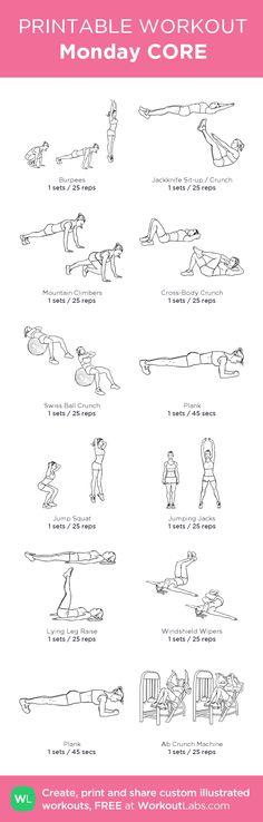 Monday CORE:\u00a0my custom printable workout by @WorkoutLabs #workoutlabs #customworkout #weightlossrecipes