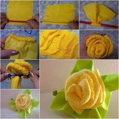 Ideas Original to decorate your table this season Beautiful Paper Napkin Roses to Decorate Your Dinner Table - www. Ideas Original to decorate your table this season Crepe Paper Flowers, Fabric Flowers, Handmade Flowers, Diy Flowers, Diy Paper, Paper Crafts, Tissue Paper, Diy Crafts, Napkin Rose