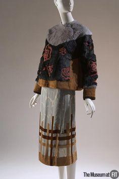 Set | Belgium, Fall 2004 | Grey, black, and ochre rabbit fur, multicolored printed silk, and velvet | Dries Van Noten (Belgian, b. 1958) | The Museum at FIT