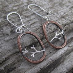 Oval Tree Branch Copper and Sterling Silver Earrings