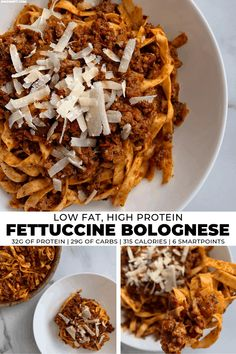 Who says you can't have pasta on a low calorie diet? This fettuccine bolognese pairs real pasta with a low fat, protein packed meat sauce that's loaded with flavor. Every serving (nearly 2 cups of pasta) has just 315 calories and 6 SmartPoints! Protein Meats, Protein Pasta, Protein Foods, Protein Cake, Protein Muffins, Protein Cookies, Diet Foods, Pasta Alternative, Low Calorie Pasta Sauce
