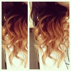 Ombre hair.  Latest fashion trend in girls. This seems to be copper ends on dark hair.