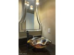 4021 Gulf Shore Blvd N, Naples, FL 34103 | Unique glass vessel sink and mirror.  The Brittany at Park Shore.