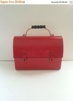 NOW ON SALE Vintage Red Metal Lunch Box  1970's by MartiniMermaid