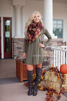 awesome The perfect fall dress in olive! True to size. Complete this look with our rust ...