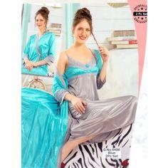 Fashionable Two Part Nighty-6486 Blue Night Dress Online, Salwar Kameez, Nightwear, Sari, Formal Dresses, Womens Fashion, How To Wear, Blue, Formal Gowns