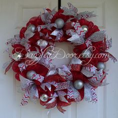 Red and Silver Deco Mesh Christmas Wreath, Christmas Wreath, Red and Silver Wreath - pinned by pin4etsy.com