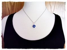 Blue Evil Eye Necklace Blue Enameled Silver by EvelynMaeCreations