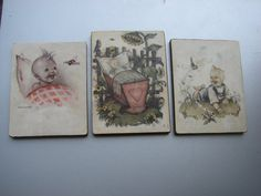 Set of 3 Old Antique Baby Wall Hanging pictures / by Luckytage, €9.00