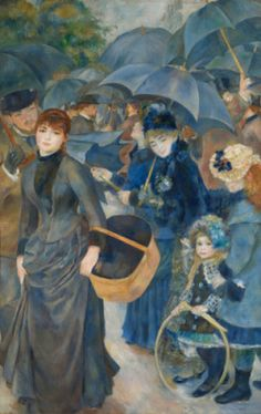 Pierre-Auguste Renoir, The Umbrellas, 1881-86, Oil on canvas, 180.3 cm x 114.9 cm, The National Gallery, London. This painting of a busy Paris street in the rain shows Renoir at two different stages in his career, revealing his change between two painting styles. The composition does not focus on the center of the painting, proving Renoir enjoyed experimenting with an unusual type of composition.