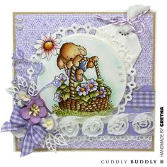 Pachela Studios Digi Stamp - Toby Tumble Say It With Flowers < Craft Shop | Cuddly Buddly Crafts
