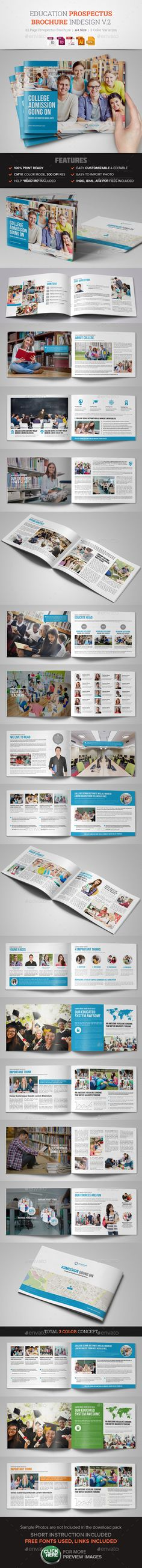Education Prospectus Brochure Design Template Vector EPS, InDesign INDD, AI Illustrator. Download here: https://graphicriver.net/item/education-prospectus-brochure-design-v2/17161376?ref=ksioks