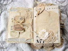 Vintage journal for any occasion Journal covers are constructed from sturdy chipboard. Iv incorporated many vintage and new items, such as vintage sheet music, corrugated card, fabrics, laces, vintage album cover, vintage image, rusty bezel, snippets of lace and ribbon, vintage button, cluster of vintage forget-me-nots, safety pin, rhinestone charm.  Contents include 36 pages, front and back. Pages are a mix of vintage dictionary page - definition of love, vintage sheet music, vintage book…