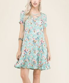 Mint Floral Shift Dress #zulily #zulilyfinds