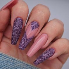 Just Browse here and must try out these Edgy Style of Purple Nail Style and get the more attention in 2020 Nails Cute Purple Nail Designs & Looks for 2020 Ongles Bling Bling, Bling Nails, My Nails, Perfect Nails, Gorgeous Nails, Pretty Nails, Purple Nail Designs, Acrylic Nail Designs, Purple Glitter Nails