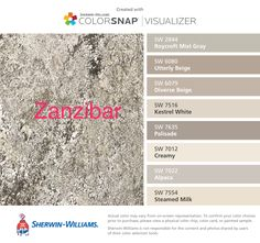 I found these colors with ColorSnap® Visualizer for iPhone by Sherwin-Williams: Roycroft Mist Gray (SW 2844), Utterly Beige (SW 6080), Diverse Beige (SW 6079), Kestrel White (SW 7516), Palisade (SW 7635), Creamy (SW 7012), Alpaca (SW 7022), Steamed Milk (SW 7554).