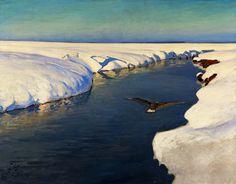 Winter landscape with a river and a bird by Julian Fałat, 1913 (PD-art/80), Muzeum Narodowe w Warszawie (MNW)