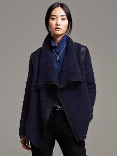 Faux-Leather Trim Boucle Open Cardigan Product Image
