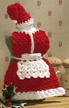 Santa dishsoap dress crochet   Crochet Christmas Santa Pattern – Mrs. Claus Dish Soap Apron Pattern
