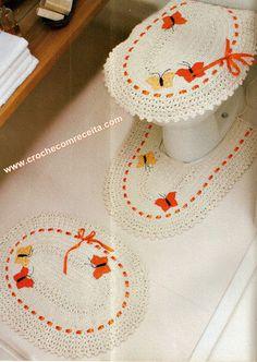 jogo de tapetes para banheiro em croche com receita