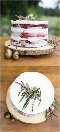 Red velvet naked wedding cake with cream cheese frosting and gold-dipped pears | A Fall Wedding Cake Idea | Johanna Kitzman Photography