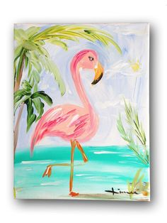 Flamingo Painting for kids Summer Painting, Painting For Kids, Painting & Drawing, Painting Canvas, Diy Painting, Kids Paintings On Canvas, Kids Canvas Art, Painting Walls, Wall Drawing