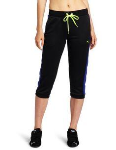 50c7b7af5f PUMA Womens Lifestyle Track Capri, Black/Spectrum Blue, X-Large PUMA,