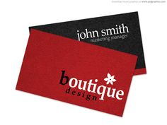 Simple black and red Free Boutique Business Cards, print ready templates available in PSD format, with features 3.5 x 2 inches, 300 DPI high resolution, and CMYK color settings.