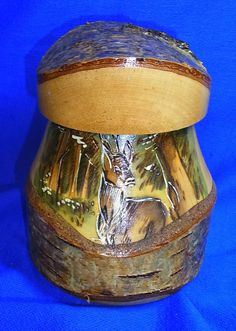 Handicraft German Birches Wood Handpainted Lidded Beer Stein Deer Motive #CF5