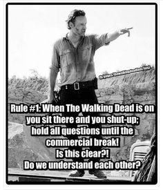 Absolute truth!<<<What commercial break??? We don't have that in Germany...But anyway, NO TALKING during TWD