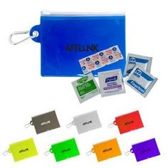 First Aid On The Go.  Clear PVC pouch with carabiner and zip top. Includes 1 bandage, 1 purell wipe, 1 alcohol wipe and 2 moist towelettes.  #healthcare promotional items #healthcare giveaways