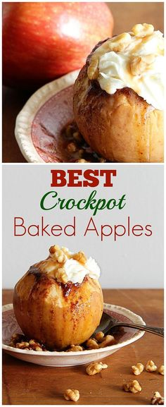 The BEST Baked Apple Recipe! This classic fall dessert is super easy to make in either your crockpot or oven. Your family will love it! (Apple Butter In Crockpot) Crock Pot Desserts, Apple Dessert Recipes, Crock Pot Cooking, Köstliche Desserts, Delicious Desserts, Yummy Food, Baked Apple Dessert, Food Deserts, Cooking Rice