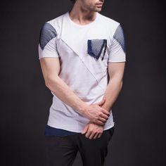 D&H Men Asymmetrical Net Zipper T-shirt - White - FASH STOP