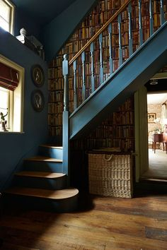 The Best 24 Painted Stairs Ideas for Your New Home Feature staircase in Paint & Paper Library Squid Ink and Andrew Martin Library wallpaperFeature staircase in Paint & Paper Library Squid Ink and Andrew Martin Library wallpaper Home, Renovations, Painted Stairs, Home Library, House Design, Staircase Design, Remodel, New Homes, Paint And Paper Library