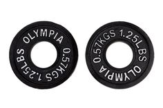 Black Olympic Plates- (1.25lb, 2.5lb) 1 pair each. Olympic black cast iron plates (not bumper plates). 1.25 Lb, 2.5 Lb (pair of each size). 4 Pcs total. USA competition & training plates. Ships to all 50 States, APO, FPO, and P.O. Box.