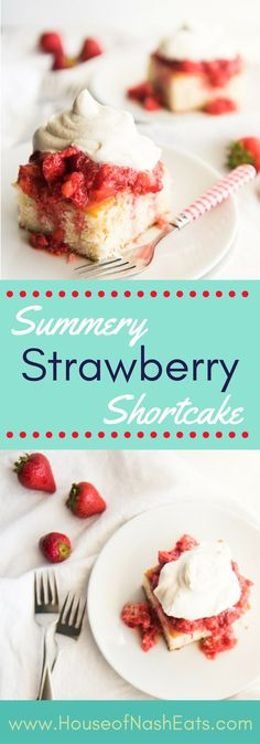 This strawberry shortcake is the perfect dessert for showcasing summer's beautiful berries topped with a dollop of freshly whipped cream! #strawberries #shortcake #spring #dessert #summer #vanilla