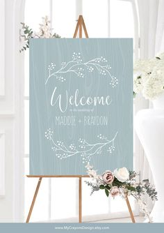Welcome Wedding Sign, Dusty Blue Wedding Welcome Sign Template Welcome your guests with this dusty blue wedding welcome sign, an easy-to-edit template for rustic wedding signs on a budget. Rustic Wedding Stationery, Rustic Wedding Signs, Wedding Welcome Signs, Chic Wedding, Wedding Ceremony, Wedding Gifts, Wedding Venues, Wedding House, Wedding Fair