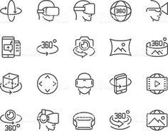 Ligne icônes à 360 degrés stock vecteur libres de droits libre de droits