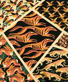 Pochoir Prints, design for textile or wallpapers, 1920s. Schweitzer, Burkhalter,FIT NY