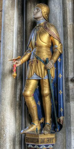 Saint Joan of Arc statue in Winchester Cathedral.