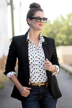 polka dot blouse, black jacket and dark wash denim