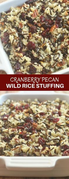 Cranberry Pecan Wild Rice Stuffing is a festive addition to your Thanksgiving celebration. Loaded with tart cranberries, toasted pecans, and orange zest, it makes a fantastic side dish or turkey stuffing!