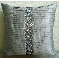 Handmade  Silver Decorative Pillows Cover by TheHomeCentric