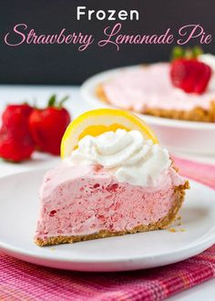 Frozen Strawberry Lemonade Pie-- This light and refreshing no bake dessert includes a gluten free option!