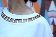 Trash To Couture: DIY: Beaded Cut Out Tshirt